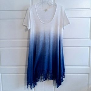 Dip Died Dress With Crocheted Fringe Hem Size S